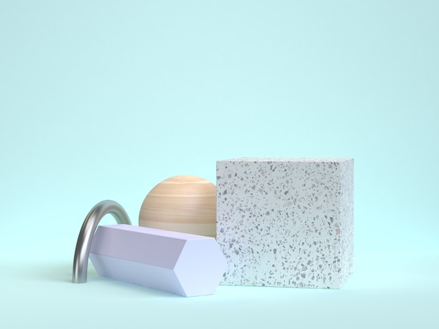 3d rendering mármol cubo madera esfera 3d rendering azul escena