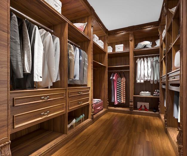3d rendering minimalista de madera escandinava walk in closet con armario