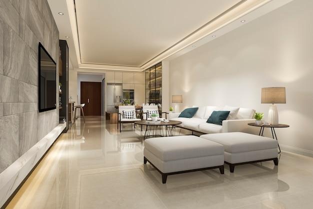 3d rendering moderno comedor y sala de estar con decoración de lujo