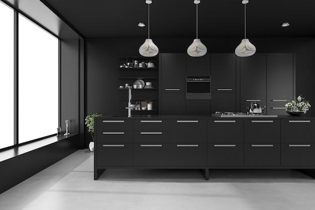 3d rendering negro cocina de lujo moderna