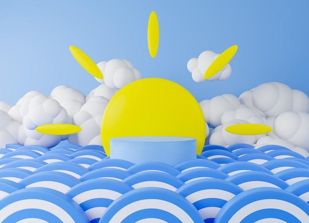 3d rendering podio azul ola azul, telón de fondo sol y nube.