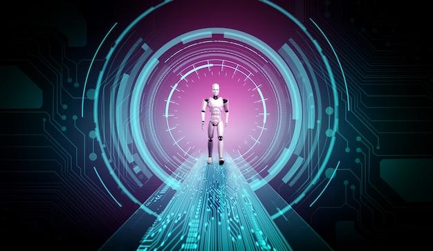3d rendering robot humanoide en un mundo de fantasía de ciencia ficción