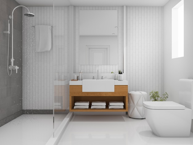 3d renderizado baño brillante con ducha