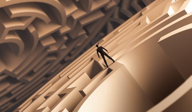 3d renderizado empresario de pie sobre un laberinto