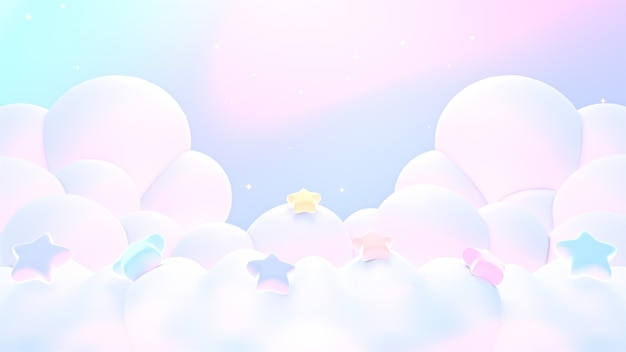 3d renderizado suaves nubes pastel de ensueño con estrellas