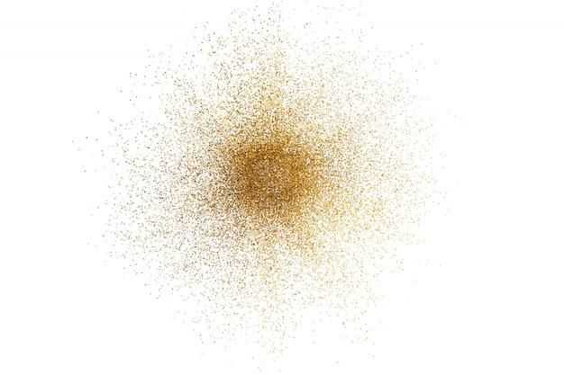 3d rinden de chapoteo de oro abstracto del brillo en el fondo blanco.
