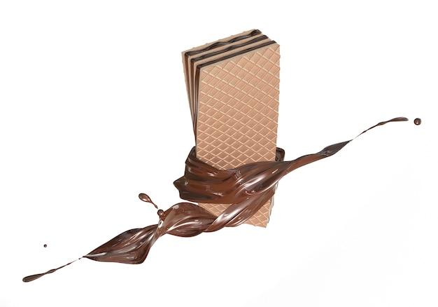 3d rinden la crema del aislante curruscante de la oblea del chocolate del doblez del chocolate en el fondo blanco