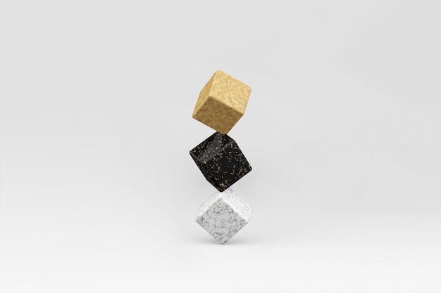 3d rinden de cubos de equilibrio oro, mármol negro y blanco. surrrealismo en estilo minimalista.