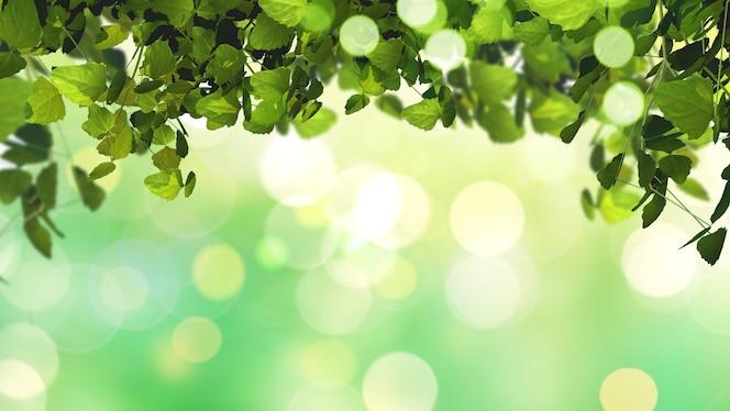 3d rinden de hojas en un fondo desenfocado soleado brillante