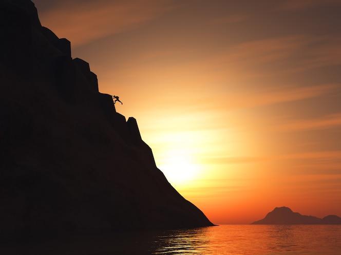 3d rinden de un escalador de roca que sube una montaña grande contra un cielo de la puesta del sol