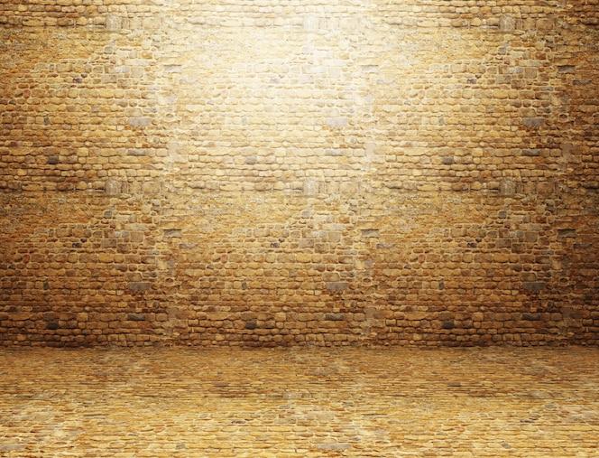 3d rinden de un interior de la habitación del grunge con la pared de ladrillo y el piso