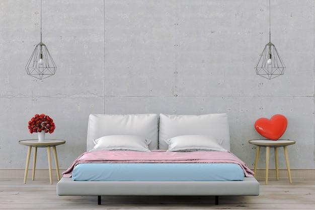 3d rinden de dormitorio interior con decoraciones.