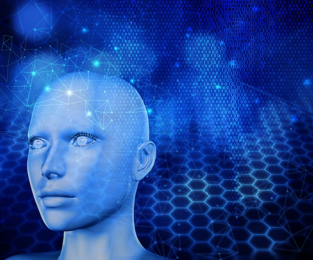 3d rinden de un fondo moderno de la tecnología con la cabeza femenina