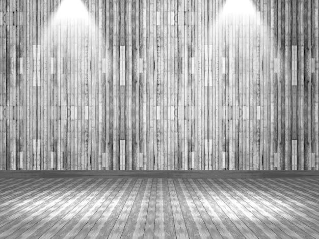 3d rinden de un interior de madera con los focos que brillan abajo