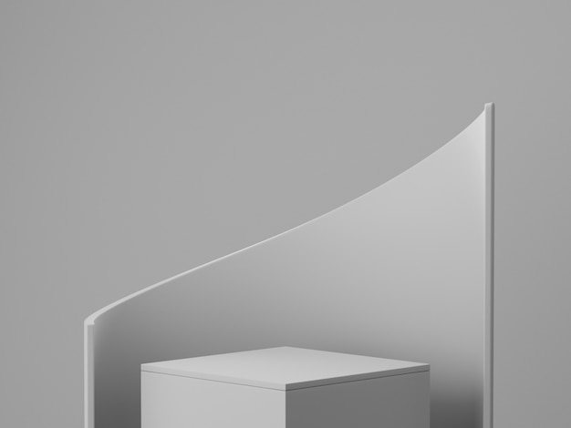 3d rinden la pared mínima blanca del estudio del podio gris. la ilustración abstracta del objeto de la forma geométrica 3d rinde. exhibición para cosméticos y productos de moda de belleza.