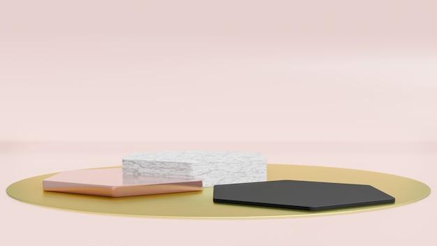 3d rinden de polígono de estilo minimalista con mármol blanco y forma dorada. concepto de fondo aislado abstracto.