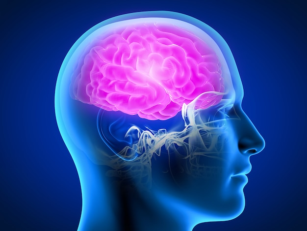 3d rindió la ilustración de un hombre que tiene un cerebro doloroso