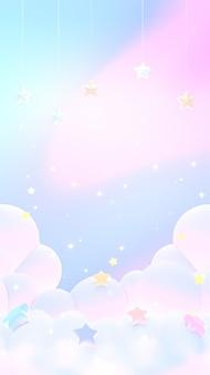 3d rindió nubes pastel de ensueño suaves verticales con papel tapiz de estrellas colgantes