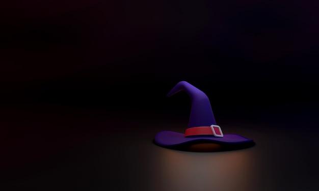 3d el sombrero de bruja sobre un fondo negro representa el espeluznante, mágico y misterioso halloween.