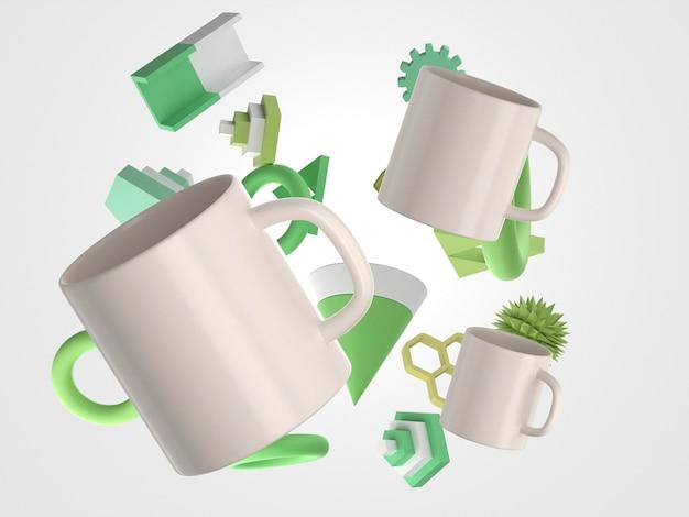 3d tazas blancas y elementos verdes