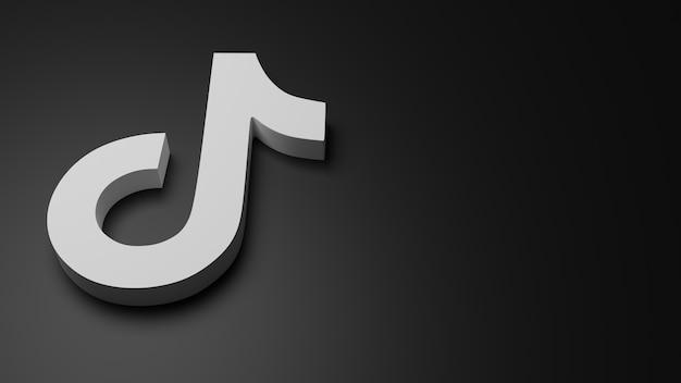 3d tiktok logo icono fondo copia espacio