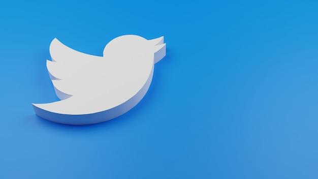 3d twitter logo icono fondo copia espacio