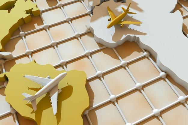 3d viajando por el mundo en avión. ilustración 3d. viajar por el mundo en avión. concepto de viajes mundiales