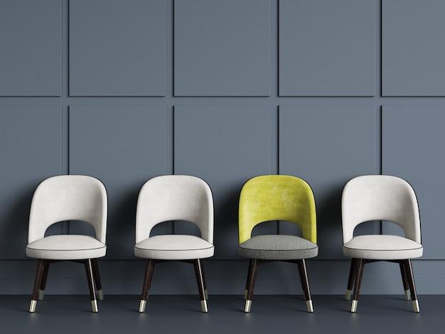 4 sillas copia espacio. representación 3d
