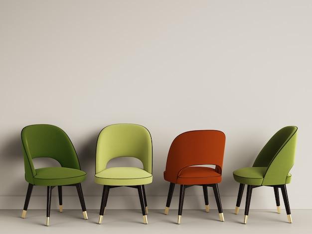 4 sillas en la habitación con espacio de copia. representación 3d