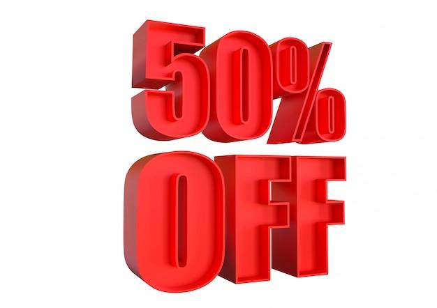 50% de descuento, banner promocional con descuento para aumentar las ventas en tiendas minoristas y etiquetado. representación 3d