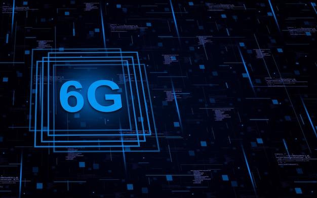 6g sobre fondo tecnológico con elementos de código y líneas de luces