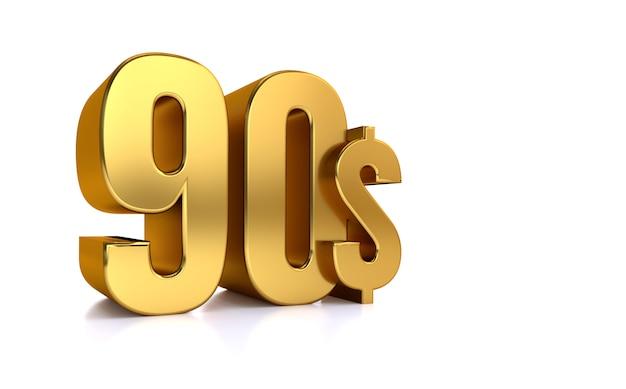 90 $. símbolo de precio noventa. texto de oro 3d render. sobre fondo blanco