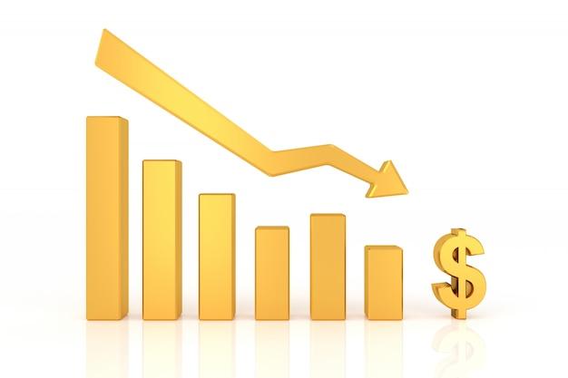 Abajo gráfico de moneda dólar. representación 3d.