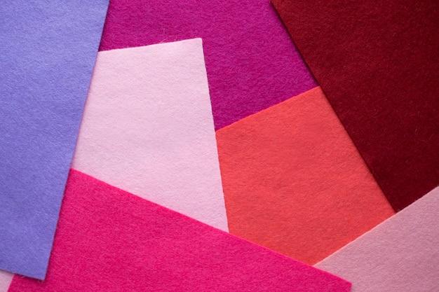 Abanico de material textil de fieltro coloreado brillante. muestras de fieltro