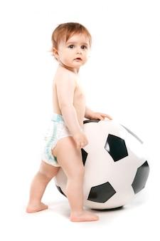 Abanico con una pelota de futbol