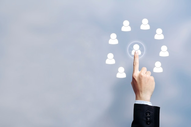 Abastecimiento de recursos humanos y contratación a través del concepto de selección. mantén la composición a la derecha.