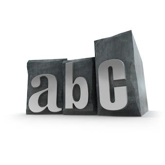 Abc escrito en casos de letras impresas