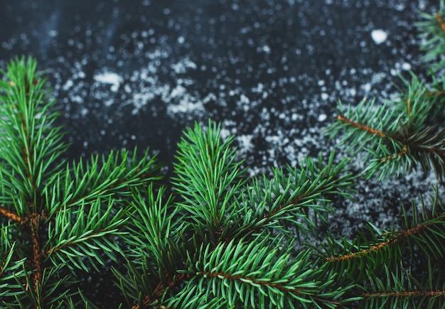 Abeto de navidad en la superficie oscura con nieve