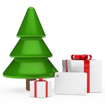 Abeto con regalos de navidad y una etiqueta