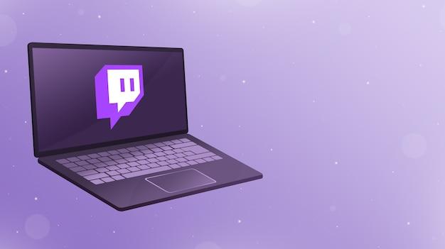 Abra el portátil con el logotipo del icono de contracción en la pantalla 3d