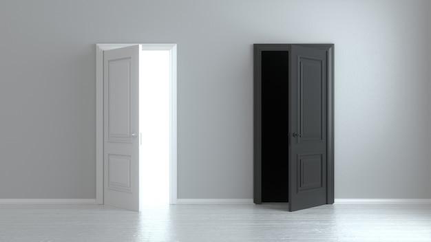 Abra la puerta realista de entrada blanca y negra aislada en la pared blanca