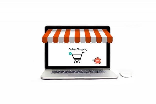 Abra la tienda de computadoras portátiles con el icono de compra, pago y marketing empresarial.
