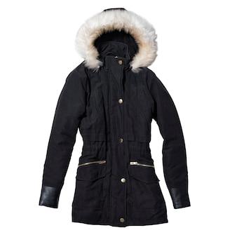 Abrigo de mujer negra con sudadera con capucha aislado