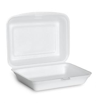 Abrir la caja de espuma de poliestireno blanca aislada sobre fondo blanco