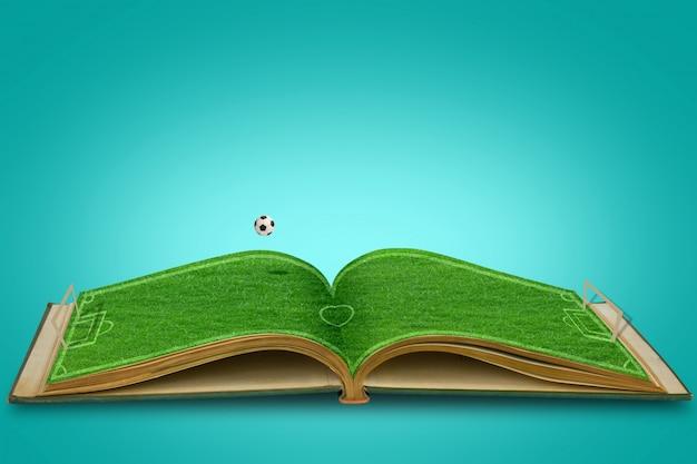 Abrir el libro de hierba verde del estadio de fútbol con el fútbol Foto gratis
