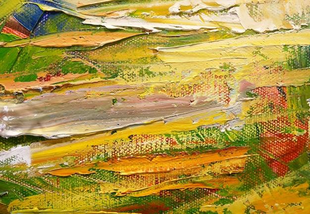 Abstracto colorido óleo pintado sobre lienzo.