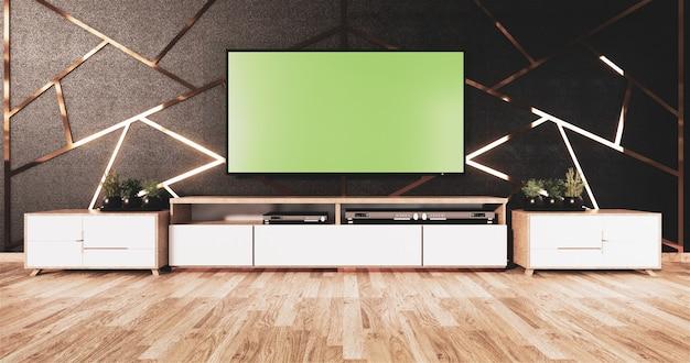 Acabado de aluminio dorado en diseño de pared negra y piso de madera con gabinete de madera y tv simulada