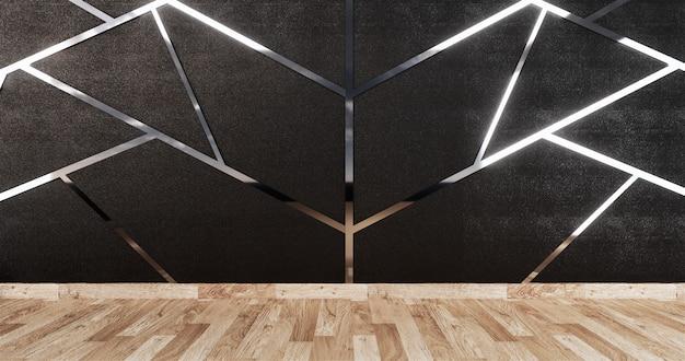 Acabado de aluminio siver en diseño de pared negra y piso de madera