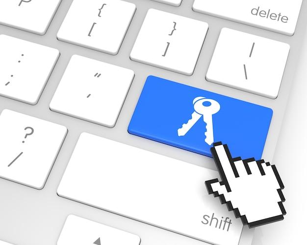 Acceda a la tecla enter con la representación 3d del cursor de mano