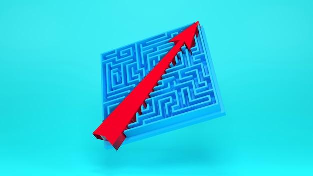 Acceso directo al éxito., juego de laberinto y flecha., concepto de negocio. render 3d.